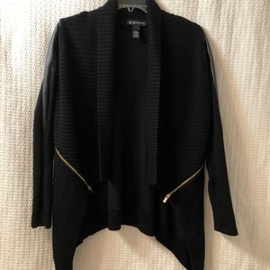 INC Draped Cardigan, Faux Leather sleeves &